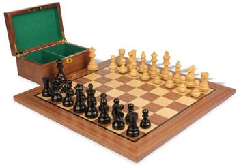 "French Lardy Staunton Chess Set in Ebonized Boxwood & Boxwood with Walnut Board & Box - 3.25"" King"