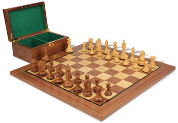 "Fierce Knight Staunton Chess Set in Golden Rosewood & Boxwood with Walnut Board & Box - 3.5"" King"