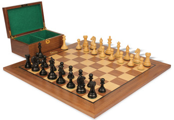 "Fierce Knight Staunton Chess Set in Ebonized Boxwood & Boxwood with Walnut Board & Box - 3"" King"