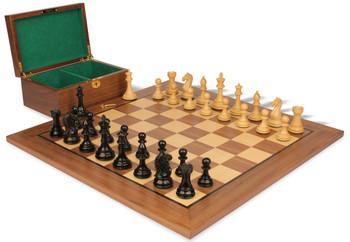 "Fierce Knight Staunton Chess Set in Ebonized Boxwood & Boxwood with Walnut Board & Box - 3.5"" King"