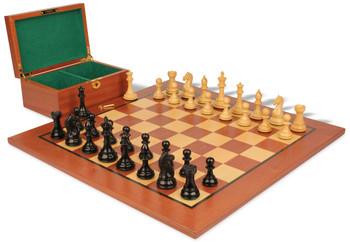 """Fierce Knight Staunton Chess Set in Ebonized Boxwood & Boxwood with Mahogany Board & Box - 3"""" King"""