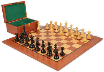 "Fierce Knight Staunton Chess Set in Ebonized Boxwood & Boxwood with Mahogany Board & Box - 3.5"" King"