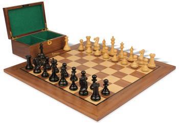 "New Exclusive Staunton Chess Set in Ebonized Boxwood & Boxwood with Walnut Board & Box - 3"" King"