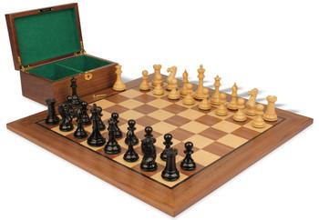 "New Exclusive Staunton Chess Set in Ebonized Boxwood & Boxwood with Walnut Board & Box - 3.5"" King"