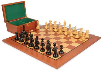 "New Exclusive Staunton Chess Set in Ebonized Boxwood & Boxwood with Mahogany Board & Box - 3"" King"