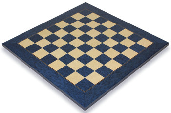 "Blue Ash Burl & Erable High Gloss Deluxe Chess Board - 2.375"" Squares"