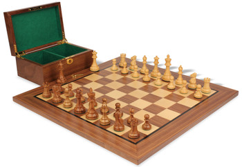 "British Staunton Chess Set in Golden Rosewood & Boxwood with Walnut Board & Box - 3.5"" King"