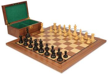 "British Staunton Chess Set in Ebonized & Boxwood with Walnut Board & Box - 3.5"" King"