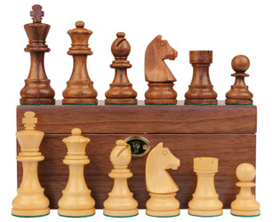 "German Knight Staunton Chess Set in Golden Rosewood & Boxwood with Walnut Box- 3.25"" King"