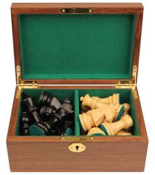 "German Knight Staunton Chess Set in Ebonized Boxwood & Boxwood with Walnut Box - 3.25"" King"