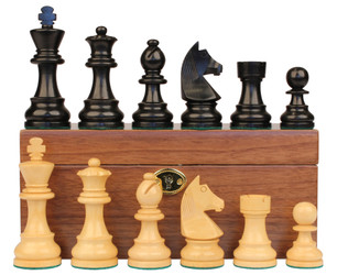 "German Knight Staunton Chess Set in Ebonized Boxwood & Boxwood with Walnut Box - 3.25"" King"