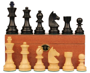 "German Knight Staunton Chess Set in Ebonized Boxwood & Boxwood with Mahogany Box - 3.25"" King"