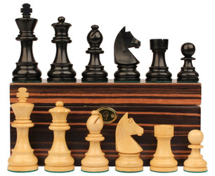 "German Knight Staunton Chess Set in Ebonized Boxwood & Boxwood with Macassar Box - 3.25"" King"