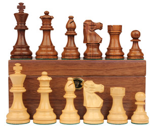 "French Lardy Staunton Chess Set in Golden Rosewood & Boxwood with Walnut Box - 3.25"" King"