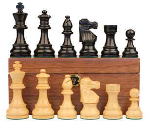 "French Lardy Staunton Chess Set in Ebonized Boxwood & Boxwood with Walnut Box - 3.25"" King"
