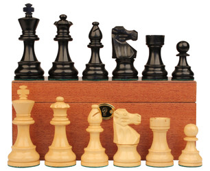 "French Lardy Staunton Chess Set in Ebonized Boxwood & Boxwood with Mahogany Box - 3.25"" King"