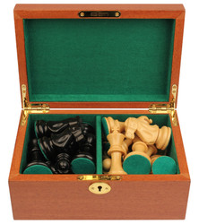 "Deluxe Old Club Staunton Chess Set in Ebony & Boxwood with Mahogany Chess Box - 3.25"" King"