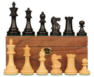 """British Staunton Chess Set in Ebonized Boxwood & Boxwood with Walnut Box - 3.5"""" King"""