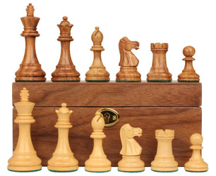 "British Staunton Chess Set in Golden Rosewood & Boxwood with Walnut Box - 3.5"" King"