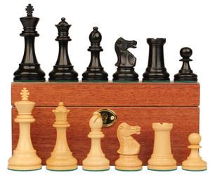 """British Staunton Chess Set in Ebonized Boxwood & Boxwood with Mahogany Box - 3.5"""" King"""
