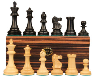 """British Staunton Chess Set in Ebonized Boxwood & Boxwood with Macassar Ebony Box - 3.5"""" King"""