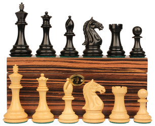 "Fierce Knight Staunton Chess Set in Ebonized Boxwood with Macassar Ebony Box  - 3"" King"
