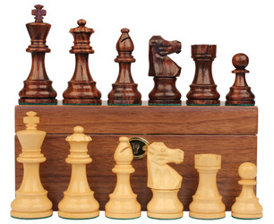 "French Lardy Staunton Chess Set in Rosewood & Boxwood with Walnut Box - 3.75"" King"