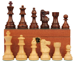 "French Lardy Staunton Chess Set in Rosewood & Boxwood with Mahogany Box - 3.75"" King"