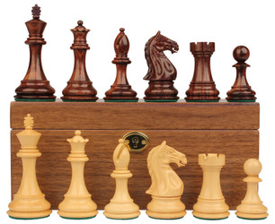 "Fierce Knight Staunton Chess Set in Rosewood & Boxwood with Walnut Box - 4"" King"