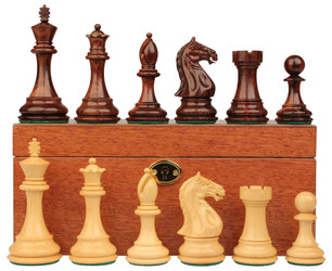 "Fierce Knight Staunton Chess Set in Rosewood & Boxwood with Mahogany Box - 4"" King"