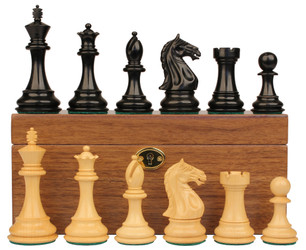 "Fierce Knight Staunton Chess Set in Ebony & Boxwood Set with Walnut Box - 4"" King"