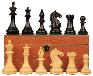 "Fierce Knight Staunton Chess Set in Ebony & Boxwood Set with Mahogany Box - 4"" King"