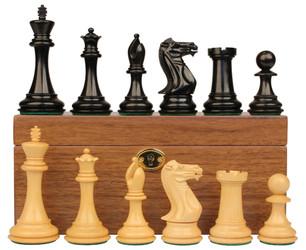 "New Exclusive Staunton Chess Set in Ebonized Boxwood with Walnut Box - 3"" King"