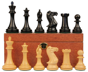 "New Exclusive Staunton Chess Set in Ebonized Boxwood with Mahogany Box - 3.5"" King"