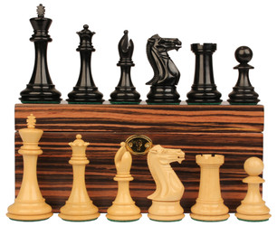 "New Exclusive Staunton Chess Set in Ebonized Boxwood with Macassar Ebony Box - 3.5"" King"