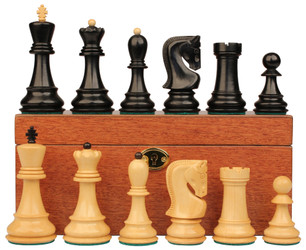 "Yugoslavia Staunton Chess Set in Ebonized Boxwood & Boxwood Mahogany Box - 3.25"" King"