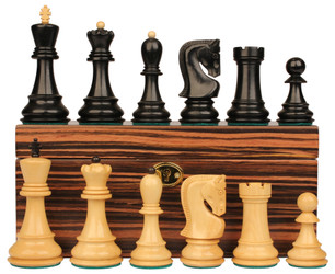 "Yugoslavia Staunton Chess Set in Ebonized Boxwood & Boxwood Macassar Ebony Box - 3.25"" King"