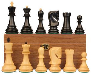 """Yugoslavia Staunton Chess Set in Ebonized Boxwood & Boxwood with Walnut Box - 3.875"""" King"""