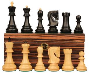 """Yugoslavia Staunton Chess Set in Ebonized Boxwood & Boxwood with Macassar Ebony Box - 3.875"""" King"""