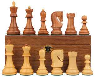 "Yugoslavia Staunton Chess Set in Golden Rosewood & Boxwood with Walnut Box - 3.875"" King"