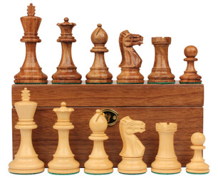 """Parker Staunton Chess Set in Golden Rosewood & Boxwood with Walnut Box - 3.75"""" King"""