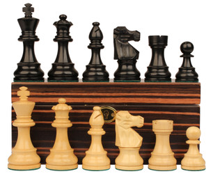 "French Lardy Staunton Chess Set in Ebonized Boxwood & Boxwood with Macassar Ebony Box - 3.25"" King"