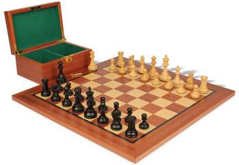 "British Staunton Chess Set in Ebonized & Boxwood with Mahogany Board & Box - 3.5"" King"