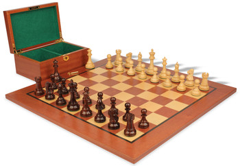 "British Staunton Chess Set in Rosewood & Boxwood with Mahogany Board & Box - 4"" King"