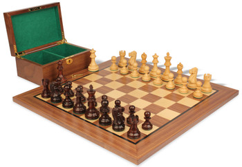 "Deluxe Old Club Staunton Chess Set in Rosewood & Boxwood with Walnut Board & Box - 3.75"" King"