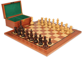 "Deluxe Old Club Staunton Chess Set in Rosewood & Boxwood with Mahogany Board & Box - 3.75"" King"