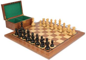 "Deluxe Old Club Staunton Chess Set in Ebony & Boxwood with Walnut Board & Box - 3.75"" King"