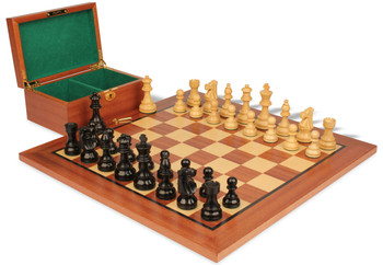 "French Lardy Staunton Chess Set in Ebonized Boxwood & Boxwood Mahogany Board & Box Package - 2.75"" King"