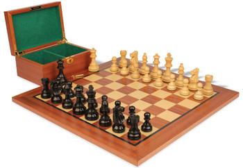 "French Lardy Staunton Chess Set in Ebonized Boxwood & Boxwood Mahogany Board & Box Package - 3.25"" King"