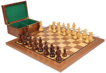 "French Lardy Staunton Chess Set in Rosewood & Boxwood with Walnut Board & Box - 3.75"" King"